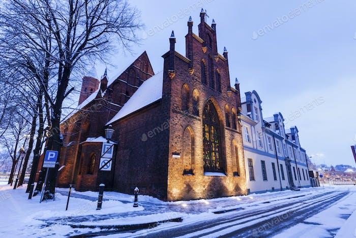 St. Elizabeth Church in Gdansk at night