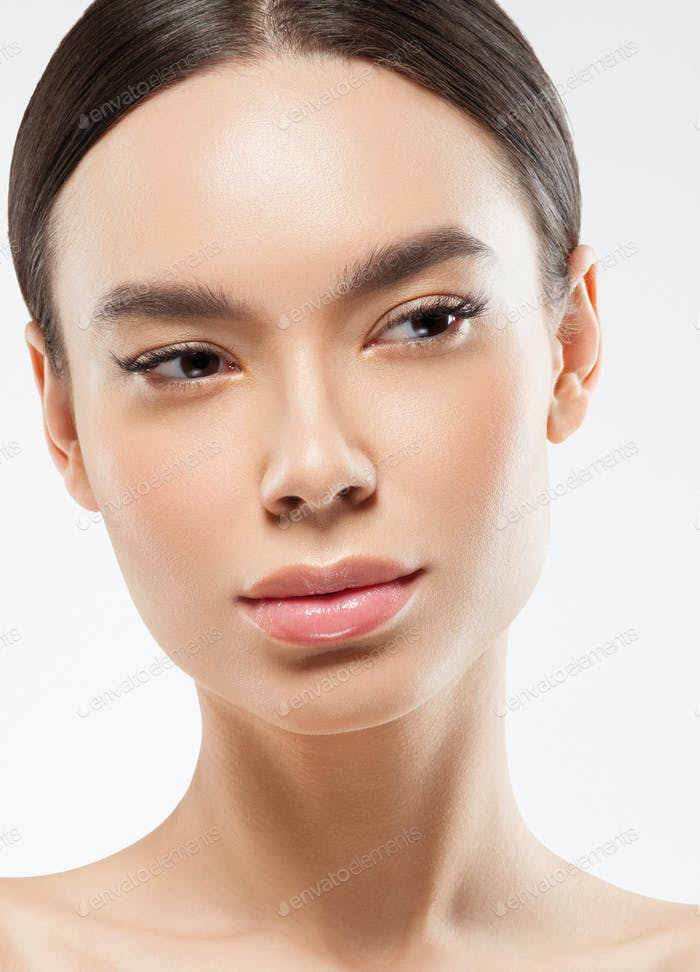 Asian female chines beauty woman clean skin face portrait. Young female model asia natural make