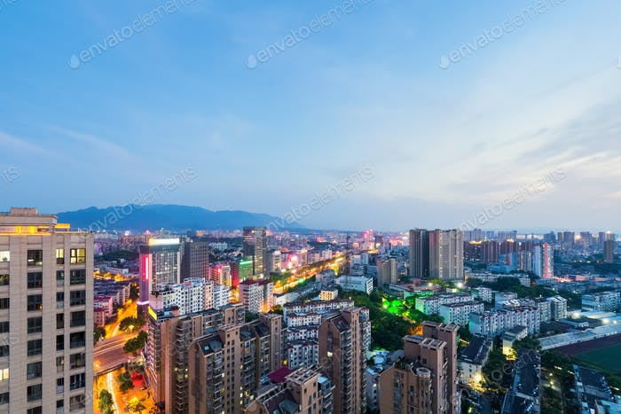 jiujiang cityscape in nightfall