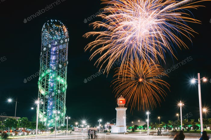 Batumi, Adjara, Georgia. Illuminated Alphabet Tower And Pitsunda
