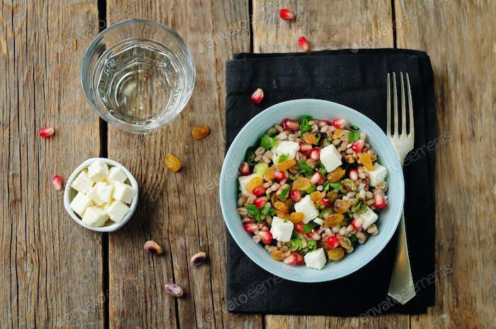 Barley pomegranate raisins feta salad