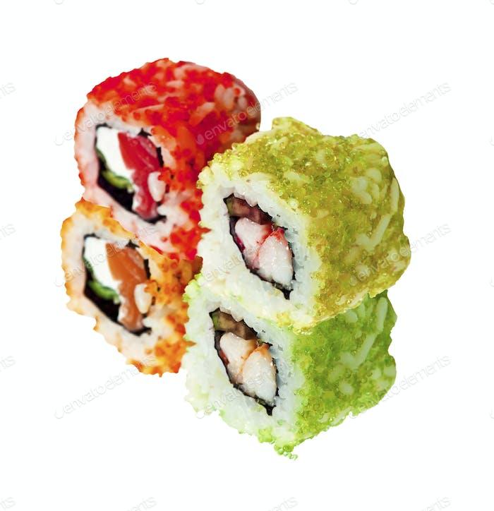 Japanese rolls isolated