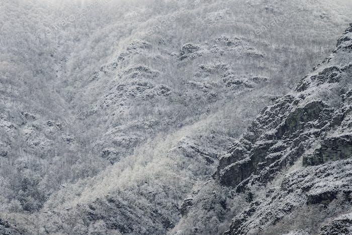 Schneebedeckte Berghänge