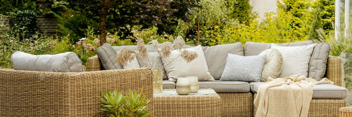 Wicker furniture on terrace