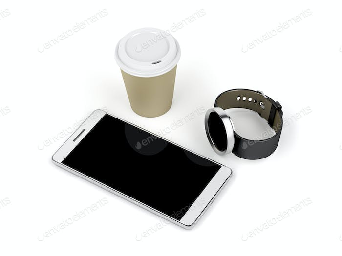 Smartphone, smartwatch and coffee cup