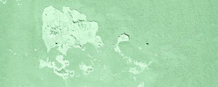 Old cracked mint wall. Painted texture background in trendy mint color. Banner