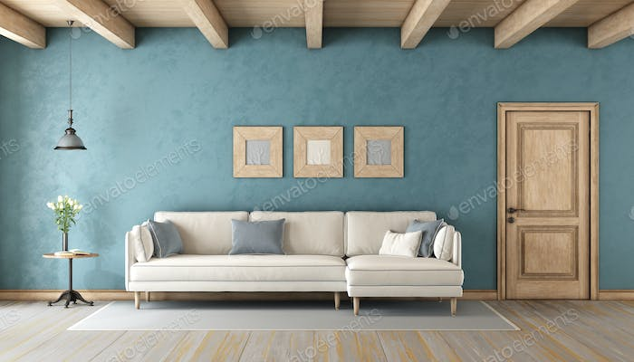 Blue living room with white sofa