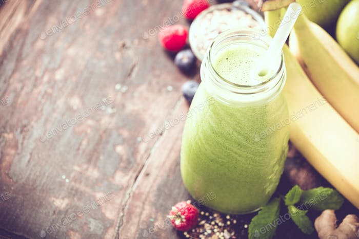 Close-up of green fresh smoothie