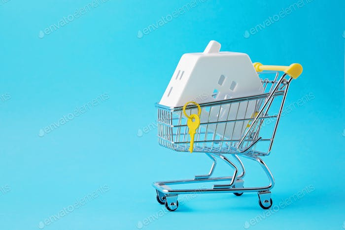 Shopping trolley with miniature hose inside. House buying, bank loan, real estate agency idea