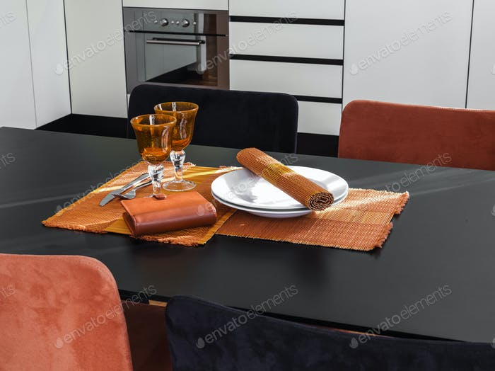 Interiors of the Modern Kitchen with Dining Table