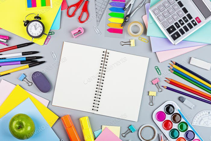 Flat Lay of Back to School Background With Copy Space