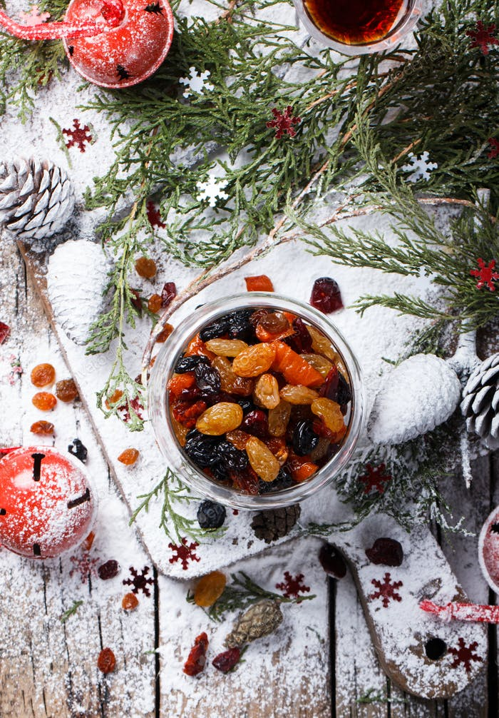 Dried fruits and candied Christmas gift.