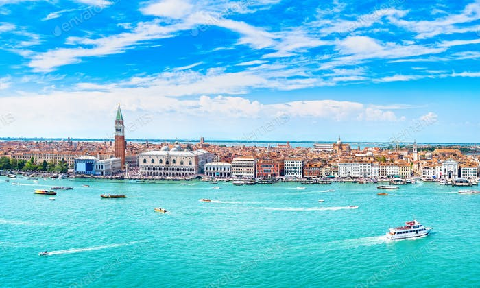 Venice panoramic aerial view, Piazza San Marco with Campanile an