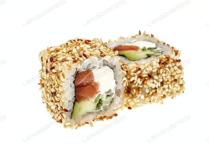 Alaska roll, sushi with cream cheese, avocado, crab meat