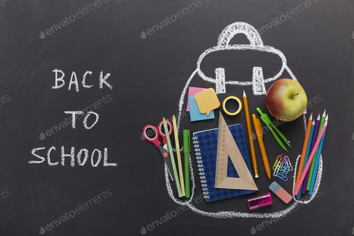 Chalk Backpack with stationery on blackboard background