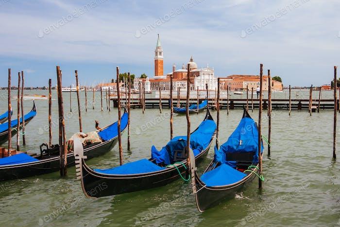 Venetian Gondolas in Venice Italy