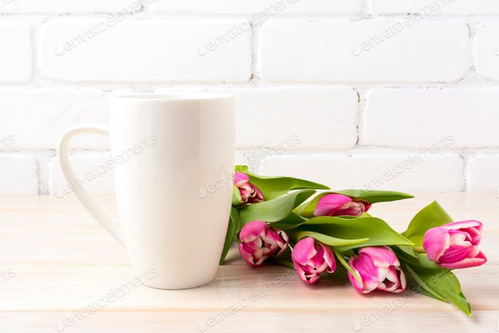 White coffee latte mug mockup with rich pink tulips bouquet