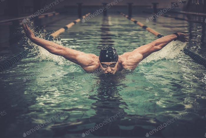 Thumbnail for Man swims using breaststroke technique