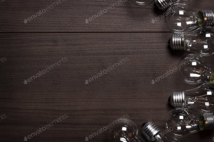 Bulbs Over Wooden Background