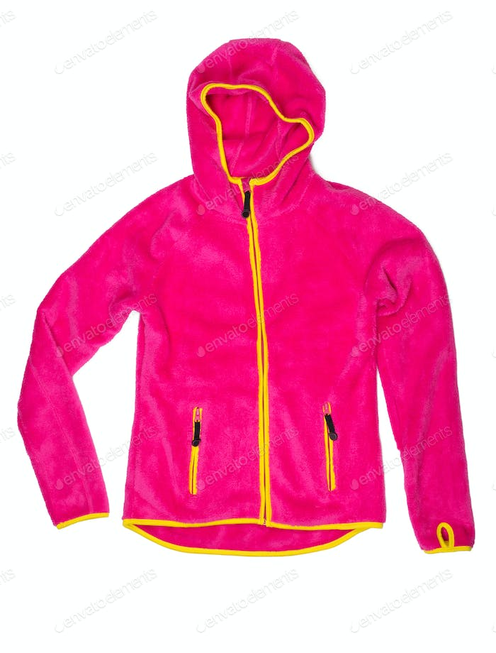 Bright red sports jacket with a hood and yellow accents