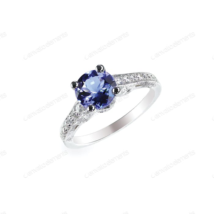 Beautiful sapphire and diamond wedding engagement ring