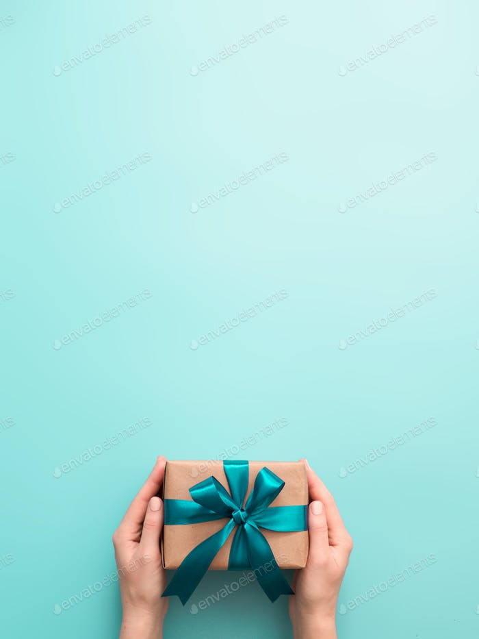 Female hands hold gift box, copy space top