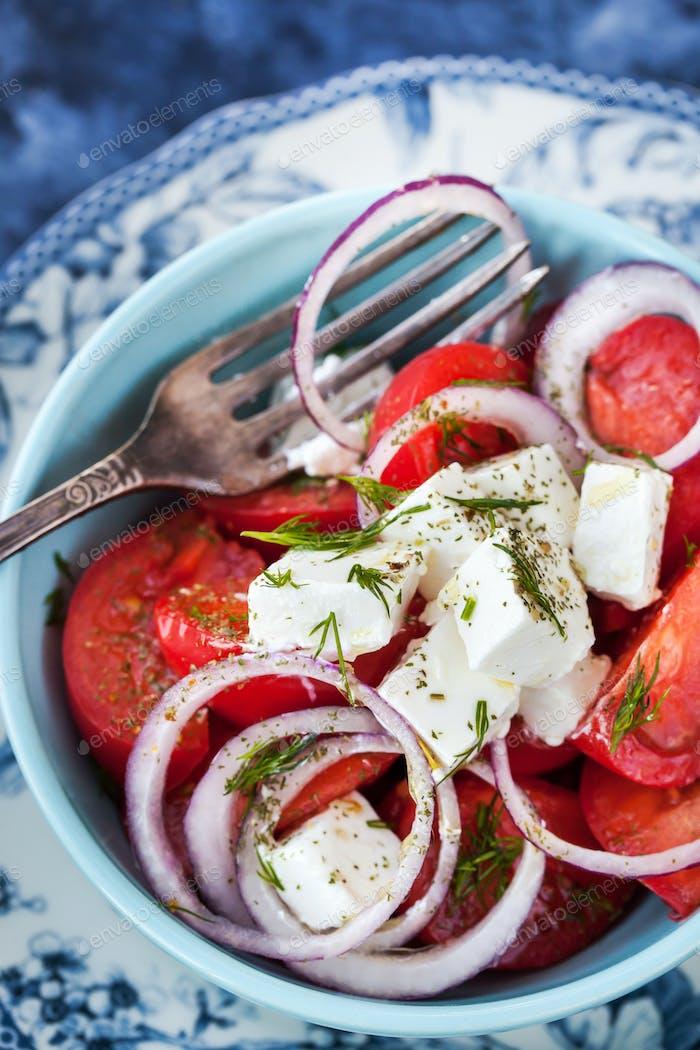 Tomato, onion and feta salad