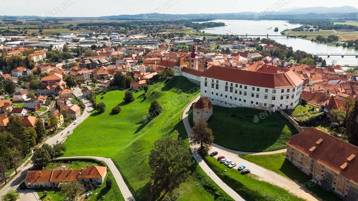 Aerial Drone View over Ptuj Castle in Slovenia