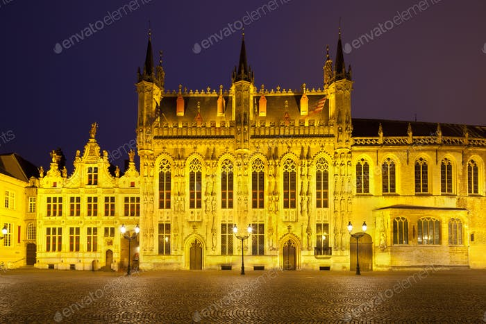 Town Hall Of Bruges At Night