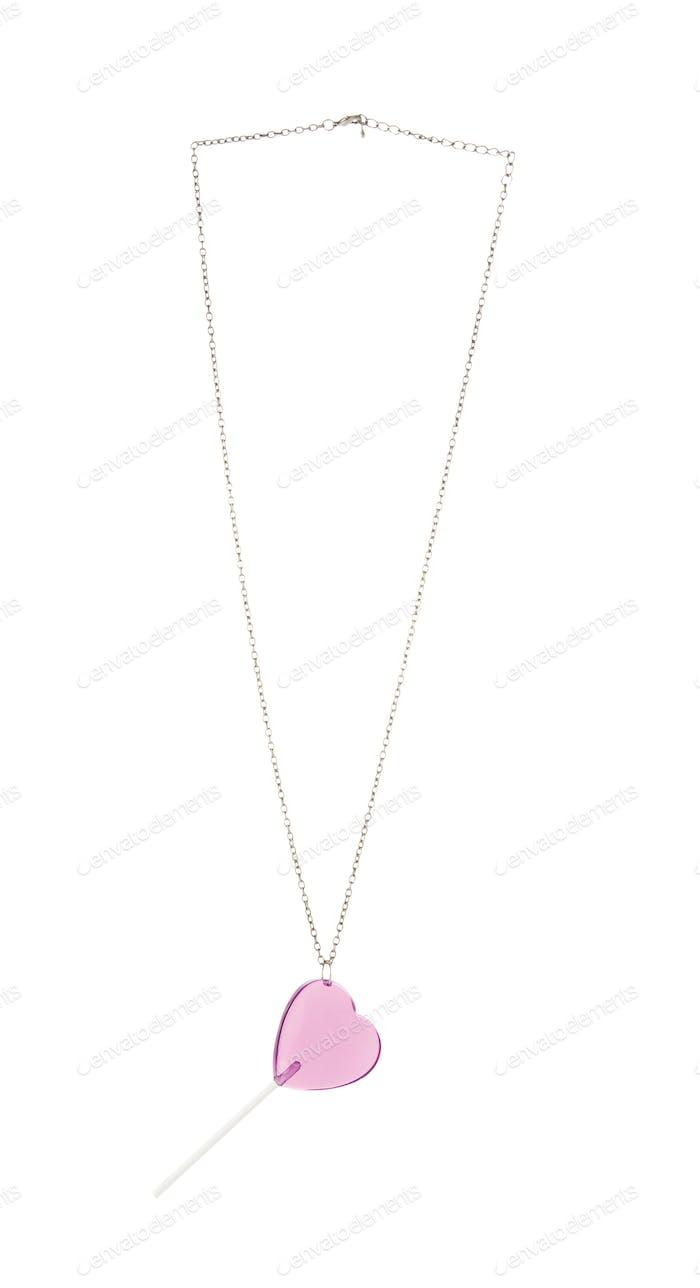 Pink heart lollipop pendant on chain