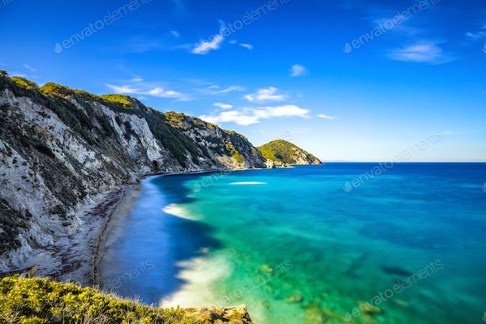 Elba island, Portoferraio Sansone white beach coast. Tuscany, It