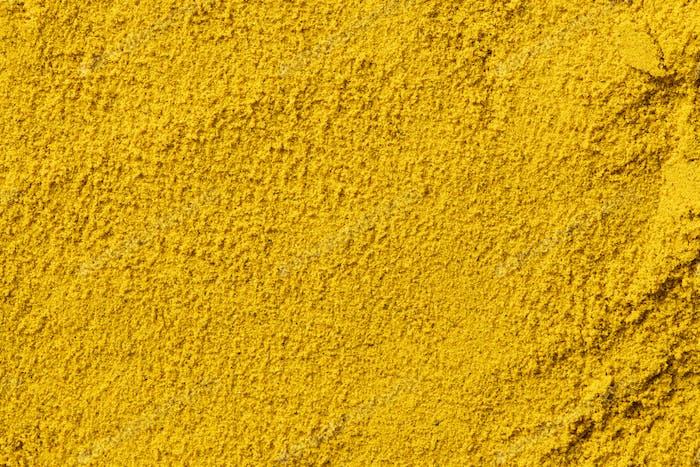 Hintergrund aus Currypulver Nahaufnahme