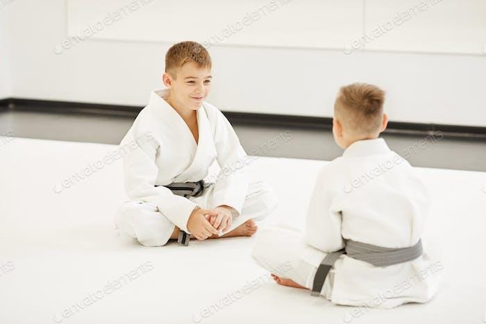 Two boys doing karate
