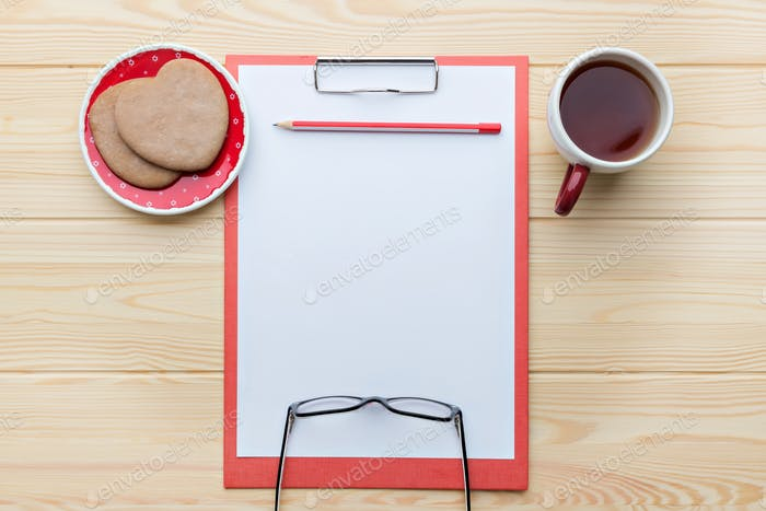 Sheet of paper on the desk