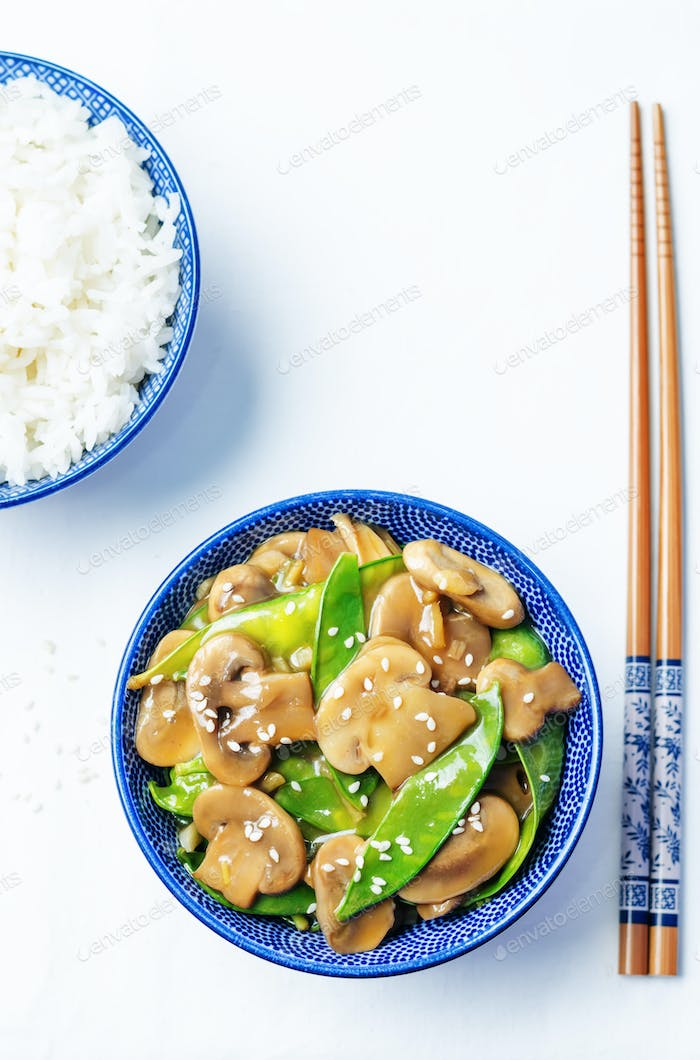 Snap peas Mushrooms Stir Fry
