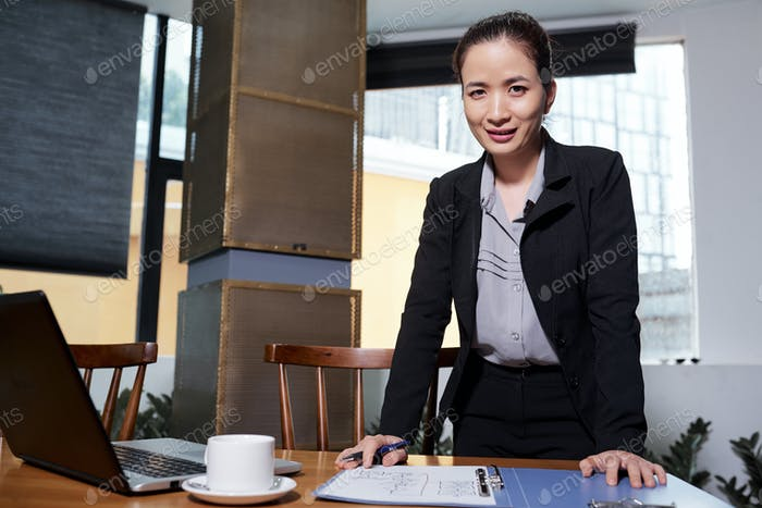 Confident female entrepreneur