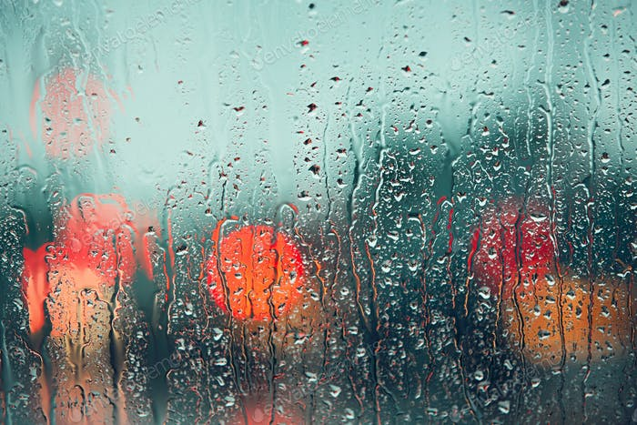 Raindrop on the window of the car