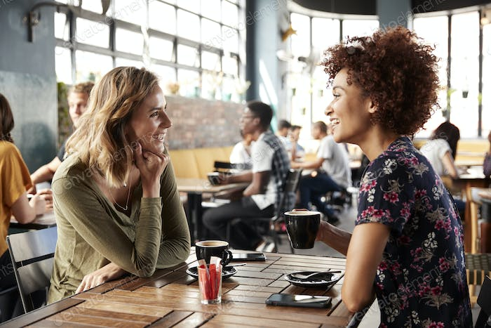 Two Female Friends Meeting Sit At Table In Coffee Shop And Talk