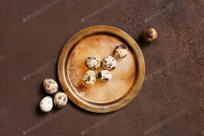 Quail Eggs on the Vintage Metal Plate