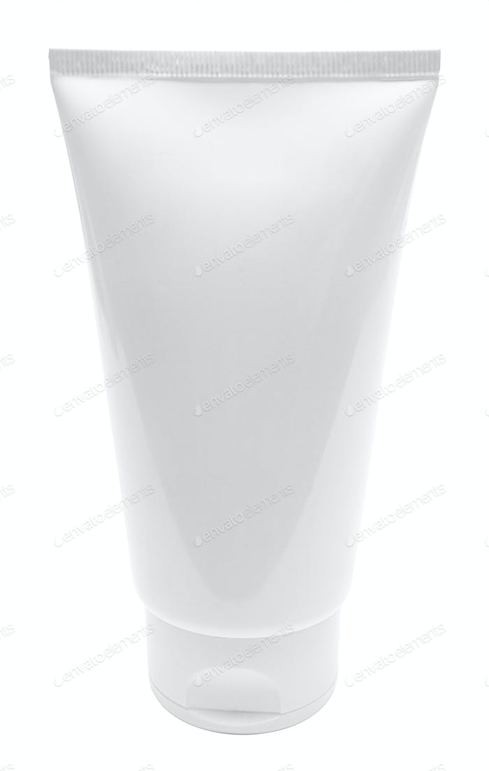 Blank White Tube with Clipping Path Isolated on a White Background