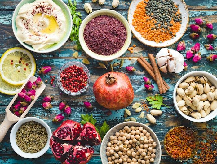 Arabische Zutaten für Lebensmittel im Nahen Osten