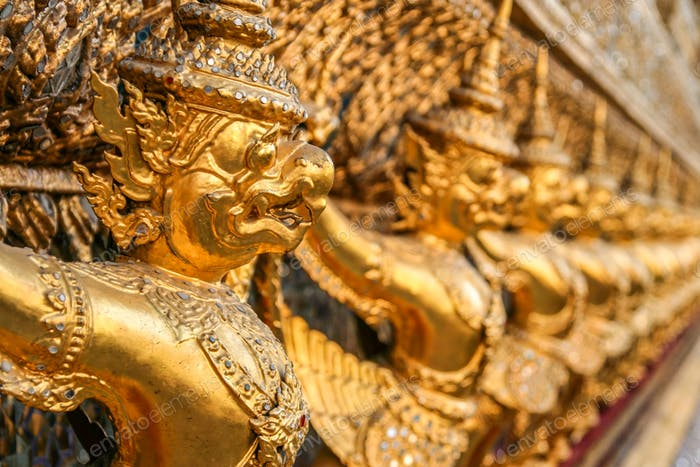 Golden sculptures in a temple