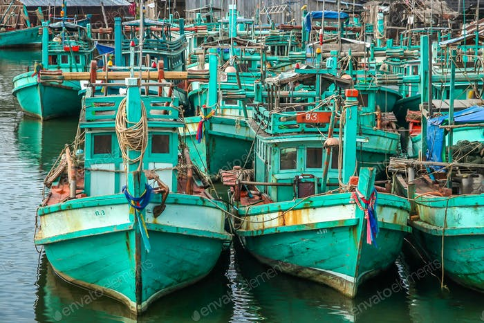 Fishing boats on cambodian coast