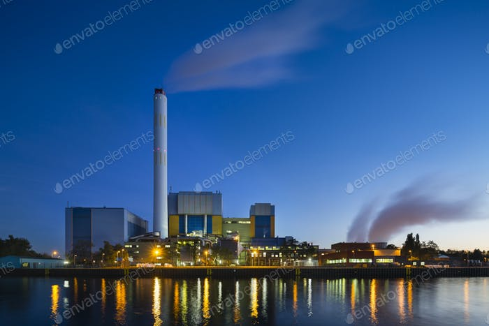 Waste Incineration Plant In The Evening