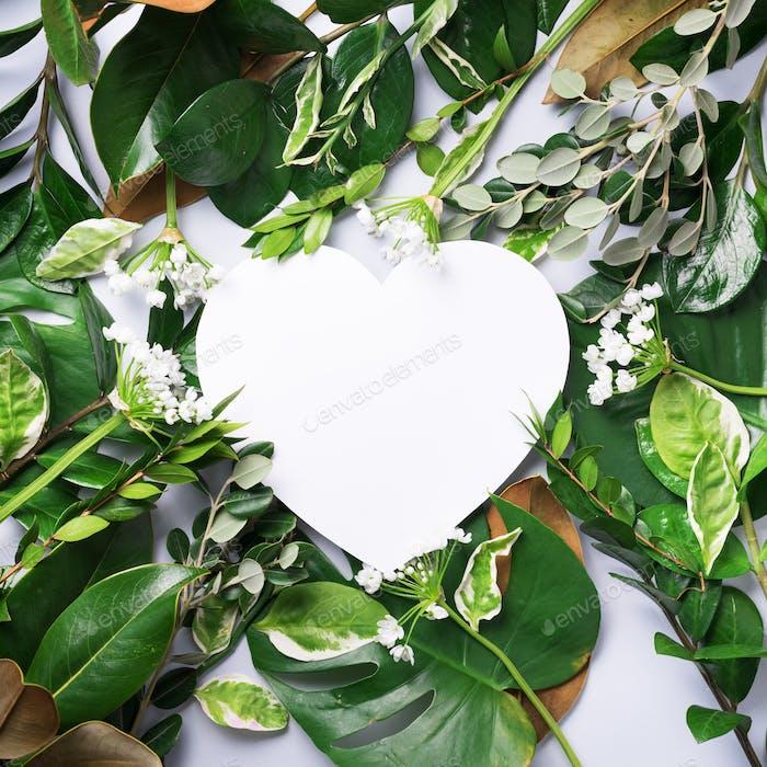 Tropische Natur Hintergrund mit grünen Blättern und weißem herzförmigen Papier für Kopierraum. Ansicht von oben
