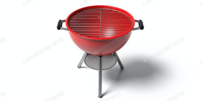 Parrilla para barbacoa. Barbacoa redonda de color rojo aislado contra fondo blanco. Ilustración 3D