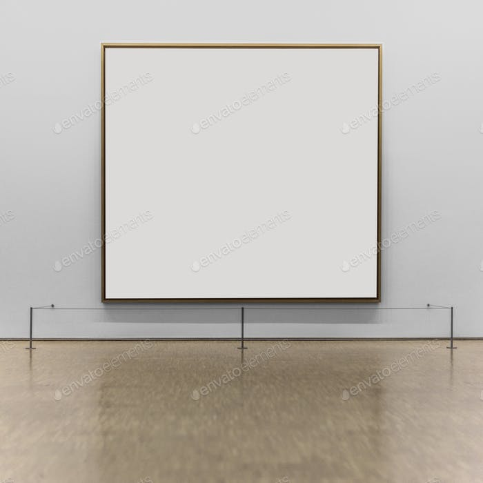 Empty frame on the wall of a museum