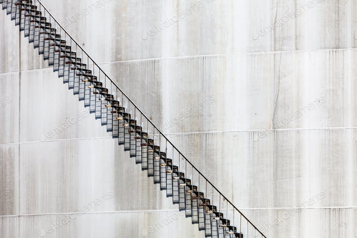 Abstract Detail of a High and Long Stair Case of an Oil Refinery