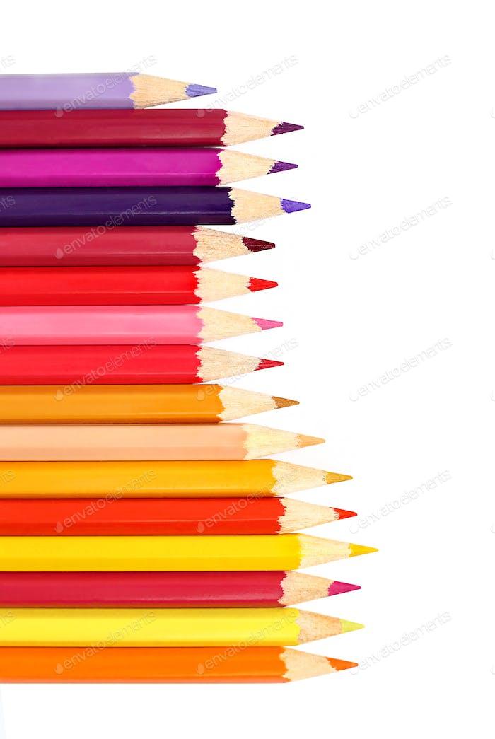 Farbstifte isoliert auf weißem Hintergrund
