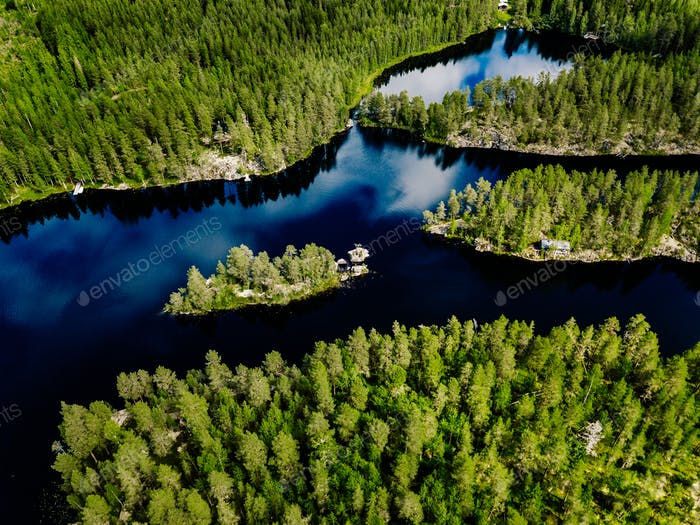 aerial view of blue lake and green forest beautiful summer landscape in finland